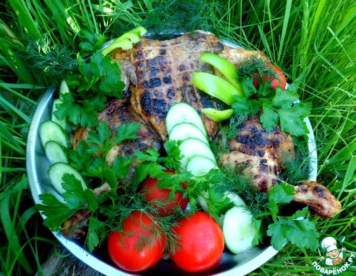 Рецепт: Глазированная курица, жаренная на мангале