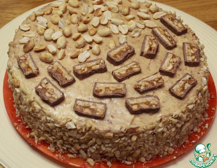 Рецепт: Домашний торт Сникерс