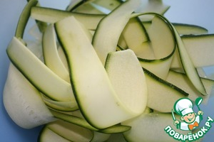 Zucchini cut into thin ribbons with a mandoline and put in a deep bowl.