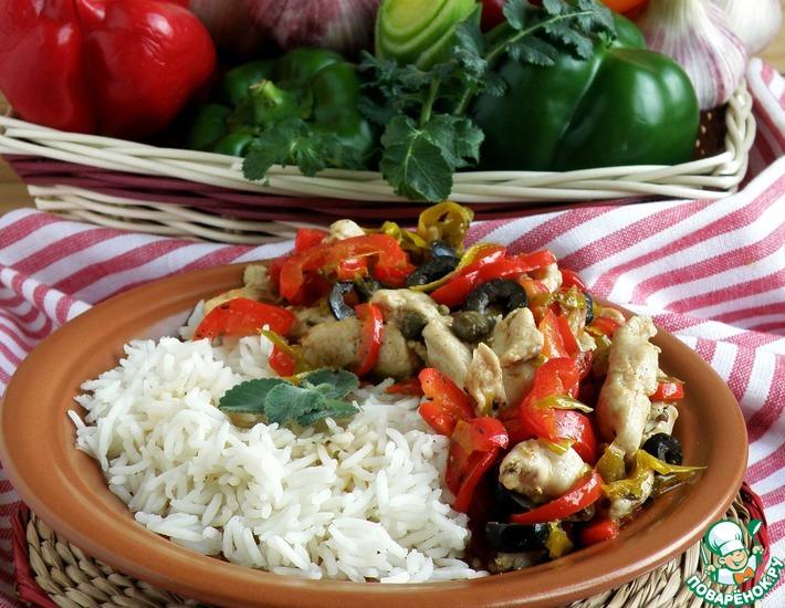 Рецепт: Пеперонада с курицей и рисом