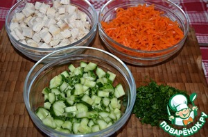 Boiled chicken breast cut into small cubes.  Also chop the cucumber.  If Korean carrot cut in very long strips, it is better to cut it into several parts.  Greens grind.