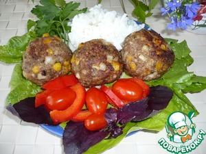 "Serve meatballs Tex-Mex rice ""amber"" in the bags (carefully open packet on the side) and place on a plate. Meatballs should be hot to the cheese inside, not frozen, and was melted and gooey.   Bon appetit!"