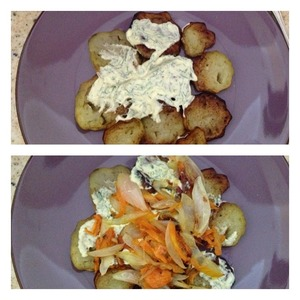 We spread the salad layers:  1) eggplant+ sprinkle with salt and oil dressing  2) put the carrots, onion,