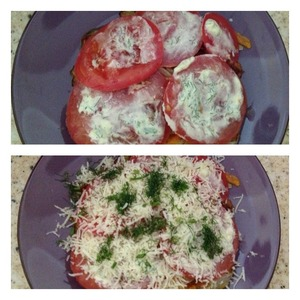 3) the first and the second layer to repeat  4) place the tomatoes +dressing  5) sprinkle with grated cheese and chopped dill