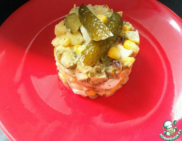 Рецепт: Салат с квашеными огурцами