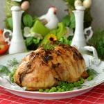 Курица, фаршированная горошком и перцем