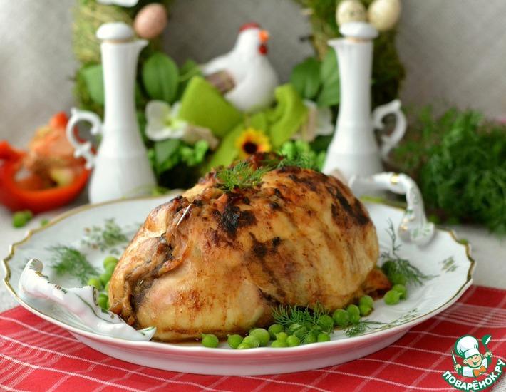 Рецепт: Курица, фаршированная горошком и перцем