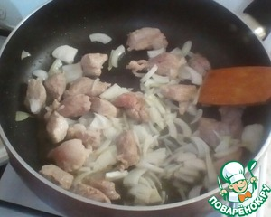Now add the onions and fry for 2 minutes until transparent.