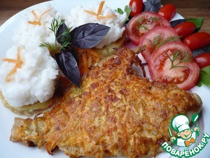 Flounder with Golden brown served with rice and vegetables.   Bon appetit!
