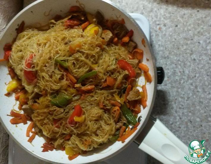 Рецепт: Крахмальная лапша по-китайски