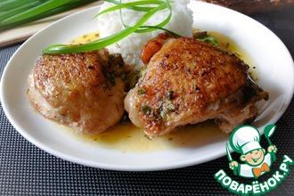 Рецепт: Тушеные куриные бёдра в кефире