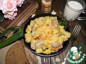 Meat with potatoes ready. You can replace the milk with water, but I suggest you try it with milk, very tasty!