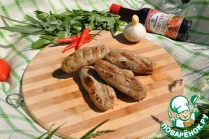Serve sausages with vegetables and herbs hot or cold as a snack.  Bon appetit!