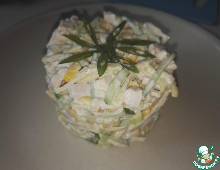 Рецепт: Салат Блинный с кукурузой