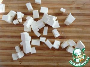 Feta cut into cubes.