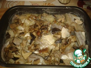 Place fish in greased with butter a baking dish, pour the broth and wine, sprinkle in the mushrooms. Fish stew in the oven at a minimum temperature of 100 degrees (about 14 minutes) until tender.