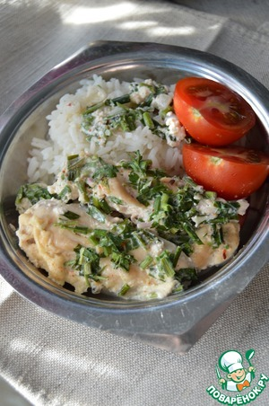 Ready breast, served along with boiled rice and fresh vegetables.  Bon appetit!