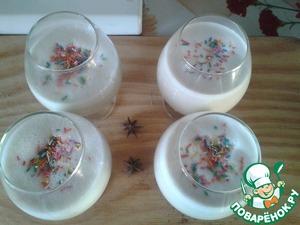 Остудить в морозилке/холодильнике если есть время и силы, и разлить по бокалам, украсить посыпкой.