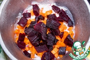 Third layer-carrots with beets mixed in. Crush.