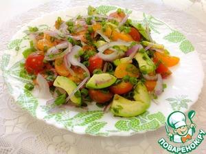 В салатник выложить все подготовленные ингредиенты, добавить заправку, перемешать. Подать к столу. Приятного аппетита!