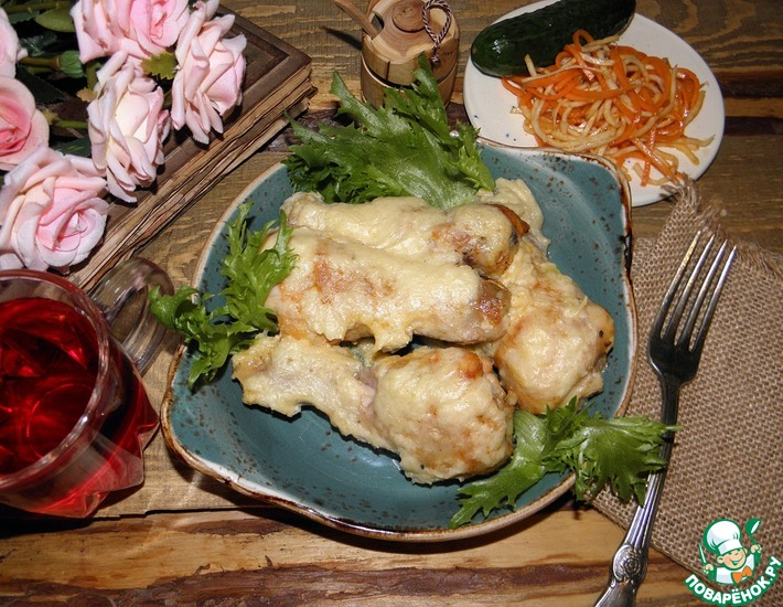 Рецепт: Курица в сливочно-луковом соусе