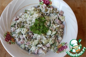 To taste add mayonnaise, mix well. Decorate with parsley. Can be served in the common plate.