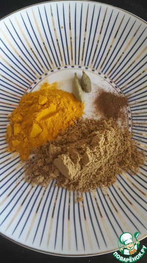 Cooking spices, cloves and crushed cardamom.