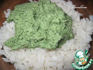 Ready rice mixed with green sauce.