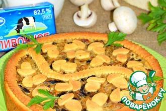 Рецепт: Пирог с капустой и шампиньонами