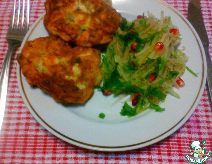 Рецепт: Оладьи из куриного филе