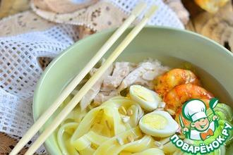 Рецепт: Куриный суп-лапша с креветками