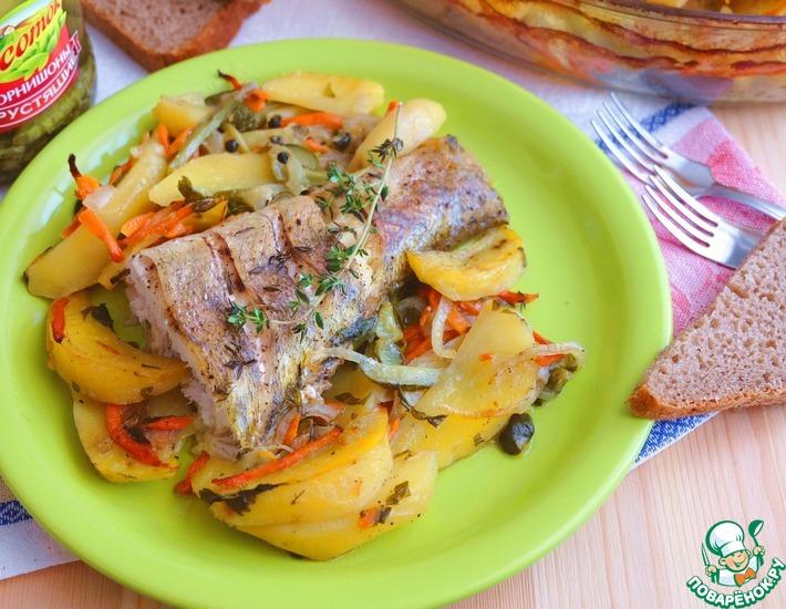 Рецепт: Судак, запеченный с овощами и картофелем