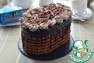Рецепт: Шоколадный торт со сливочным кремом