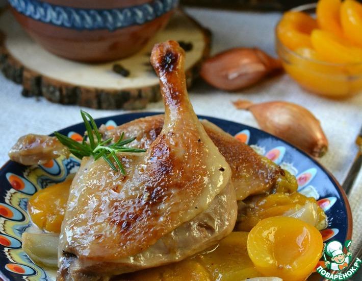 Рецепт: Утка с абрикосовым компотом