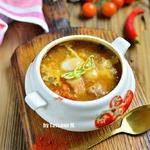 Мясной суп с чечевицей в духовке