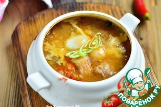 Рецепт: Мясной суп с чечевицей в духовке