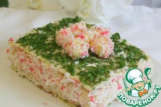 Рецепт: Торт закусочный Крабовый рай