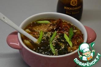 Рецепт: Мисо-суп с курицей и лапшой-рамен