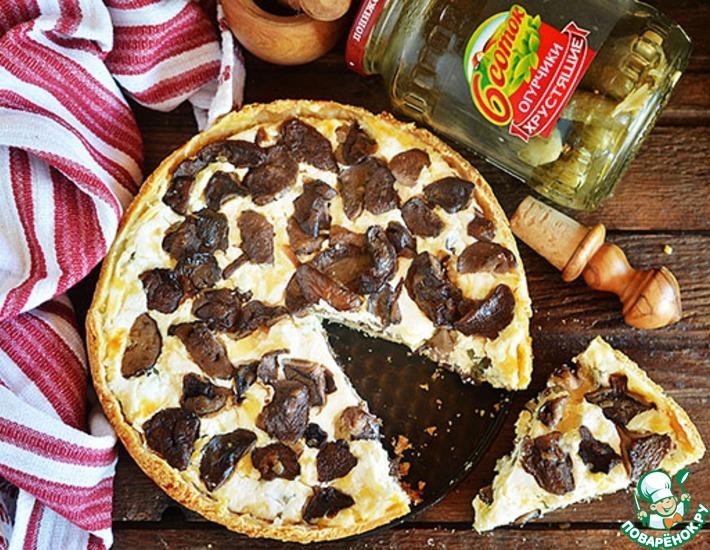 Рецепт: Грибной пирог с сыром и огурцами