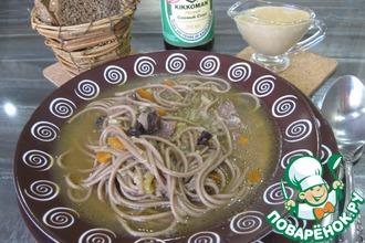 Рецепт: Мясной суп с лапшой Азиатские мотивы