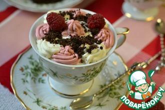 Рецепт: Десерт Малиново-шоколадный крем