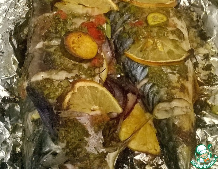 Рецепт: Скумбрия в соусе из фейхоа
