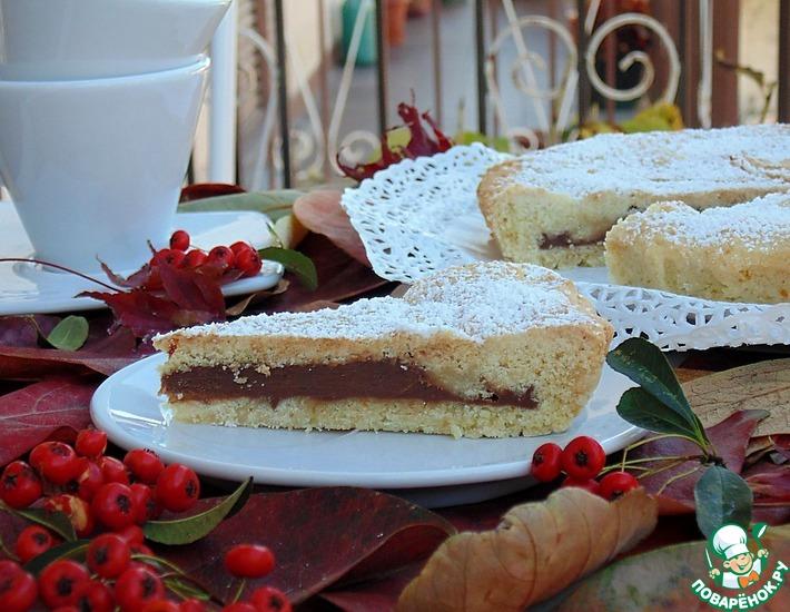 Рецепт: Песочный пирог с шоколадным кремом
