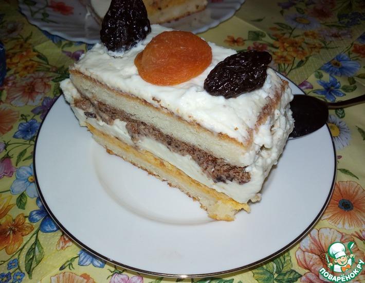 Рецепт: Пирожное с черносливом и курагой