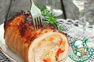 Рецепт: Свиной рулет с рисом и овощами