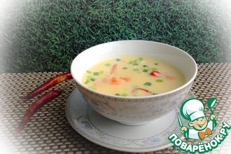 Рецепт: Острый суп с кукурузой и креветками