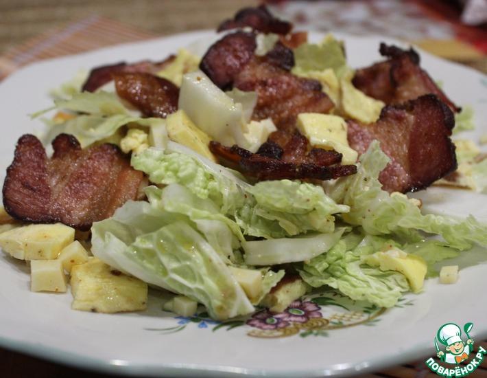 Рецепт: Салат с омлетом и беконом Хрустик