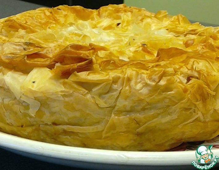 Рецепт: Пирог с квашеной капустой на тесте фило