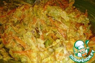 Рецепт: Салат из зеленой редьки с курицей