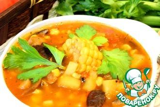 Рецепт: Томатно-кукурузный суп с грибами